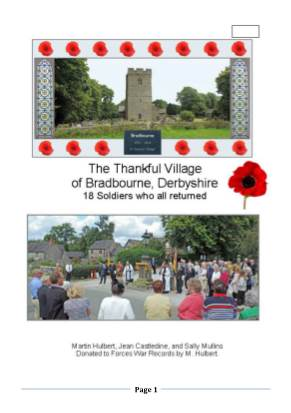 View individual pages of 'The Thankful Village of Bradbourne, Derbyshire 18 Soldiers who all returned.'