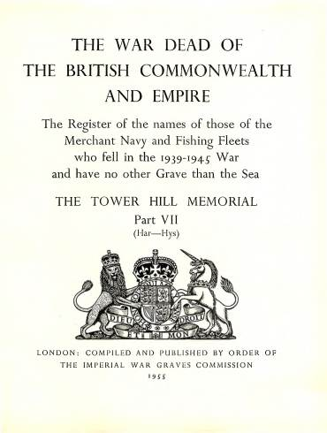 View individual pages of 'Memorial Register 22, The Tower Hill Memorial Part VII, names of those of the Merchant Navy and Fishing Fleets who fell during WW2'