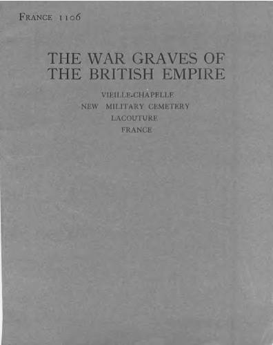 View individual pages of 'Memorial Register, France 1106, The War Graves of the British Empire, Lacoutre France'