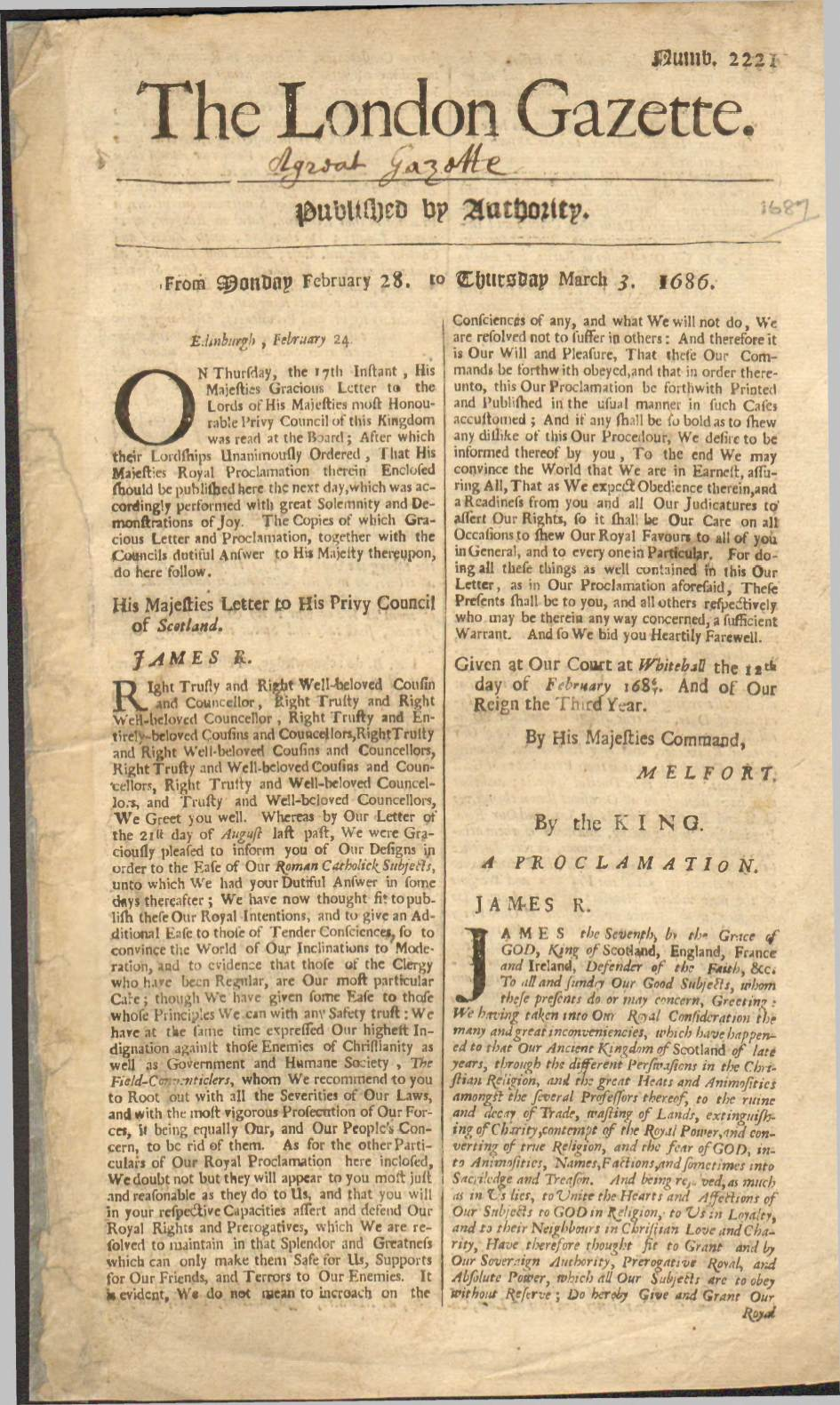 View individual pages of 'The London Gazette Feb 28  Mar 3 1686'