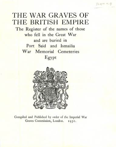 View individual pages of 'Memorial Register Egypt 7-8, WW1, Port Said and Ismailia War Memorial Cemeteries'