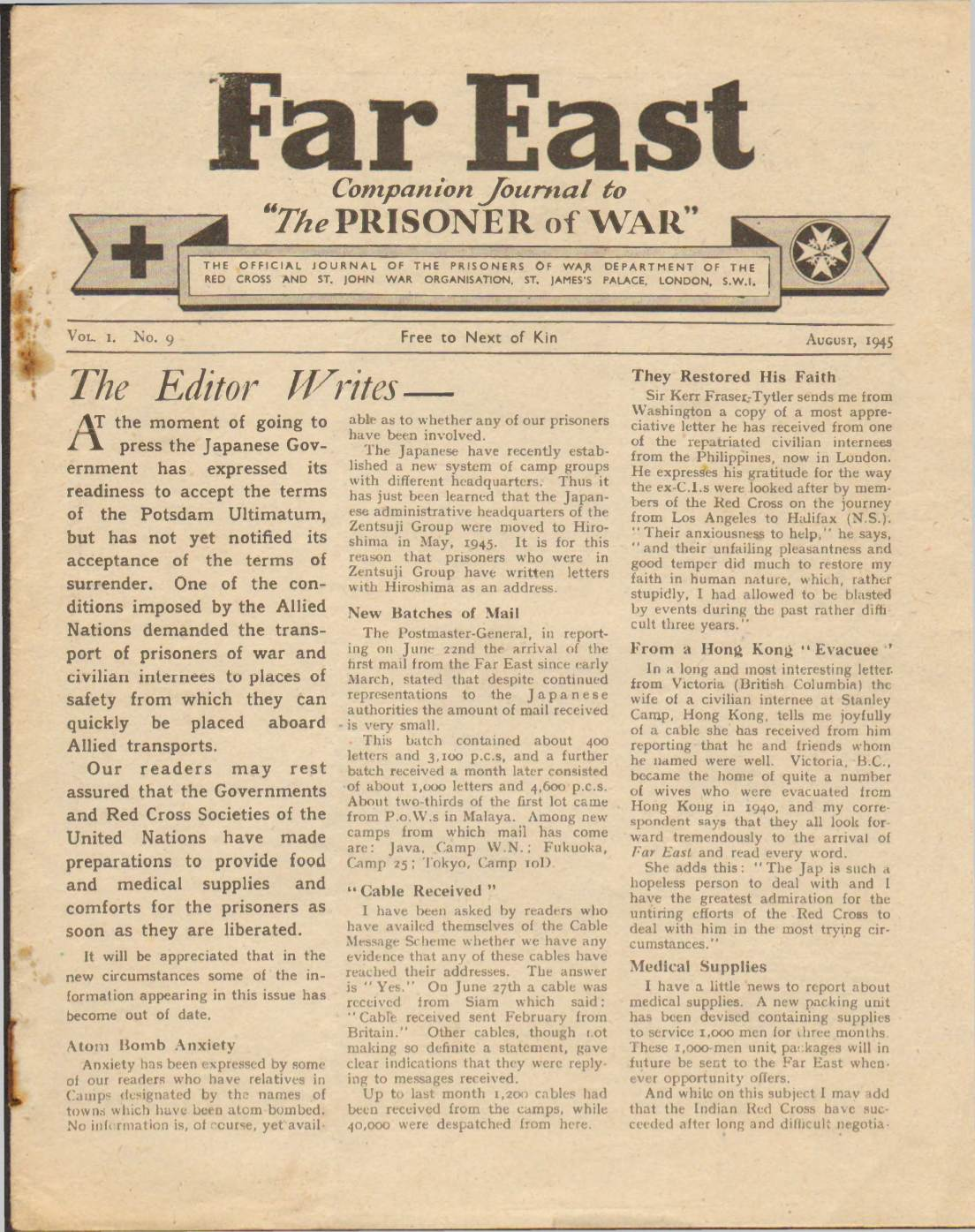 View individual pages of 'Far East, No. 9, Vol. 1, August 1945'