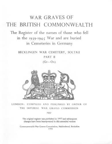 View individual pages of 'Memorial Register, Germany 9, Part II, War Graves of The British Commonwealth 1939-1945'
