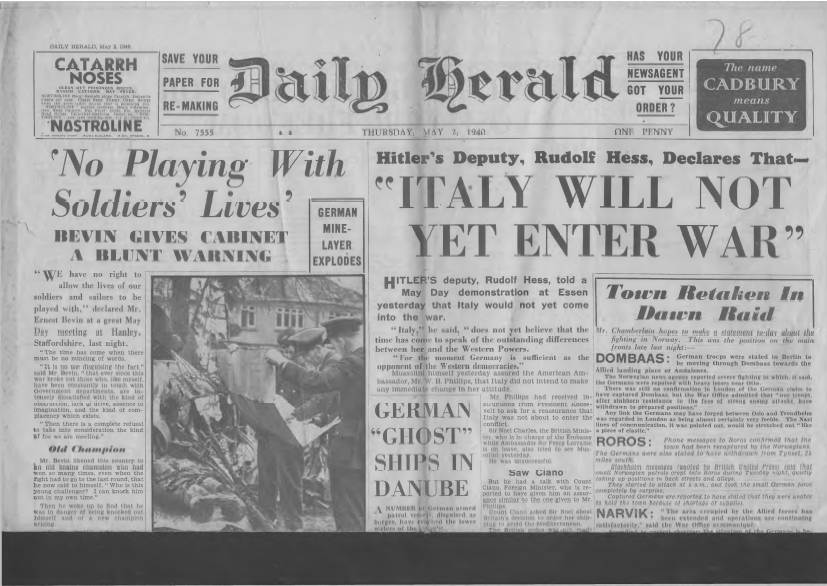 View individual pages of 'Daily Herald May 2nd 1940'