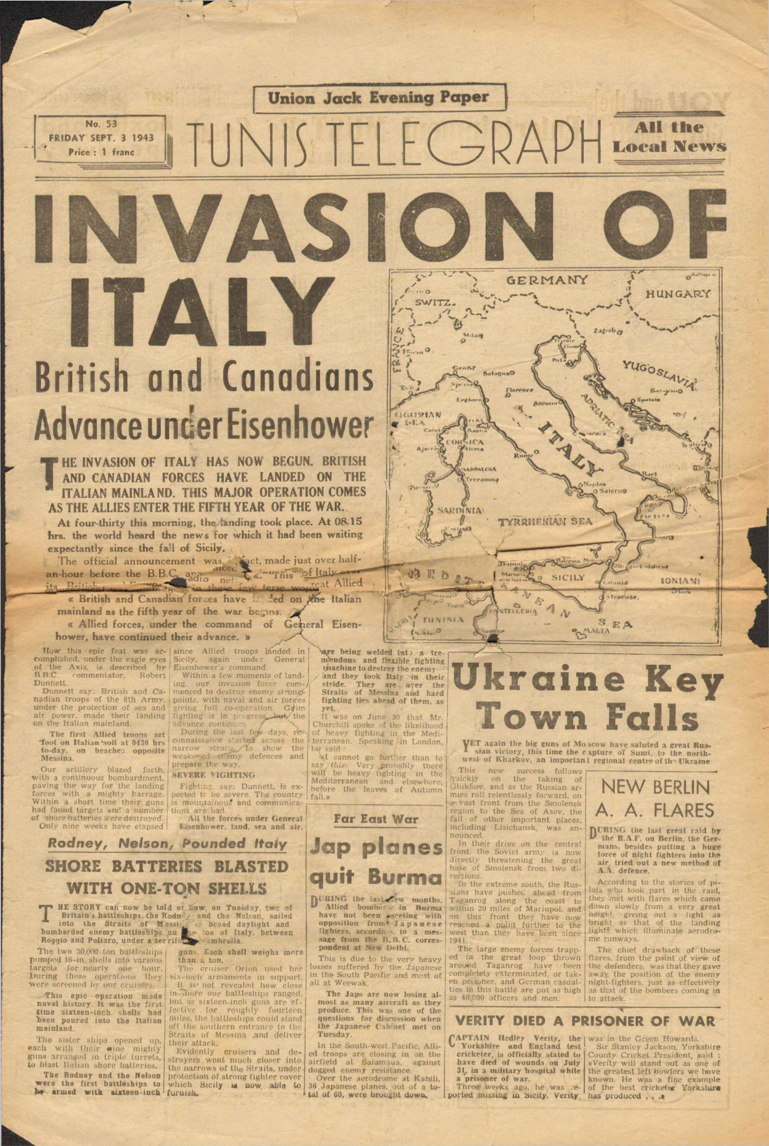 View individual pages of 'Union Jack, September 3rd 1943'