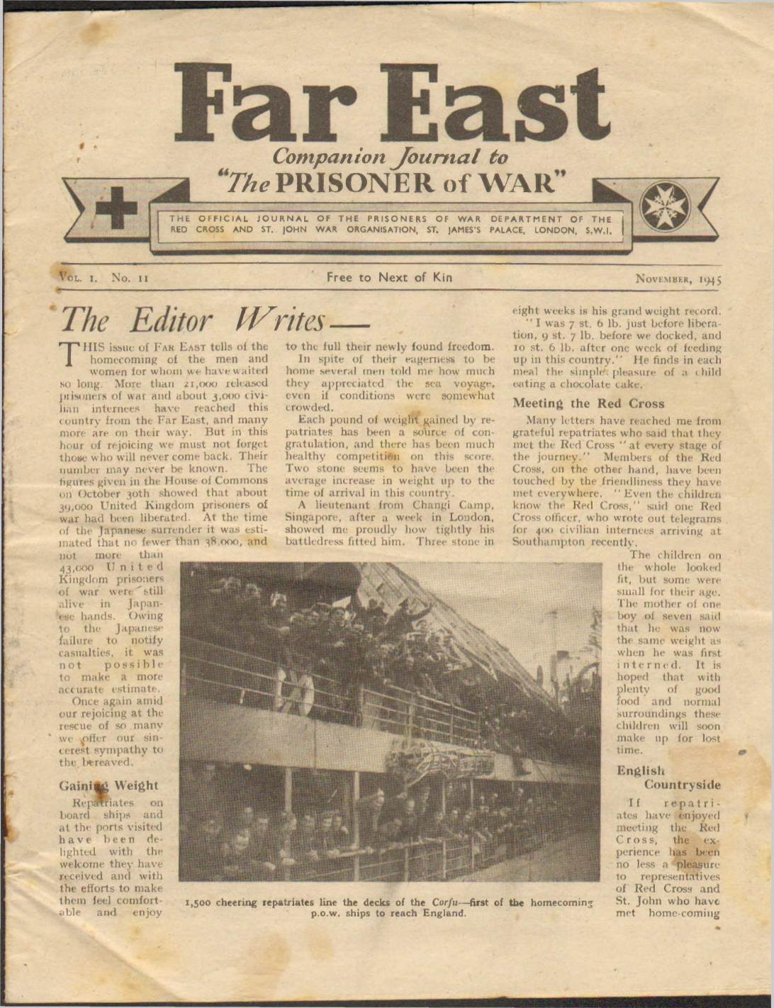 View individual pages of 'Far East, Companion Journal to The Prisoner of War, Vol. I, No. II, November 1945'