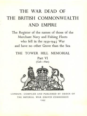 View individual pages of 'Memorial Register 22, The Tower Hill Memorial Part VI, names of those of the Merchant Navy and Fishing Fleets who fell during WW2'