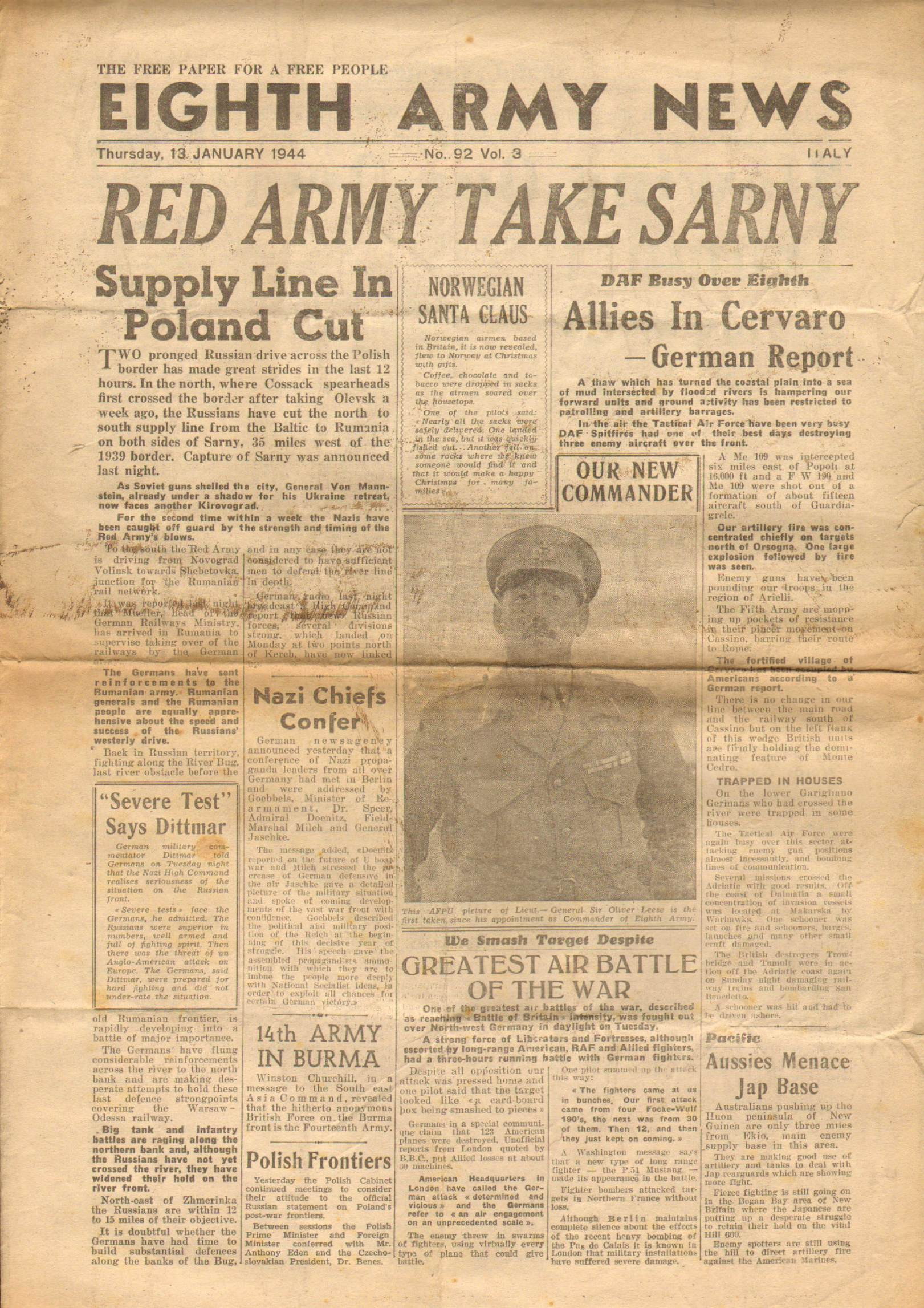 View individual pages of 'Eighth Army News  No 92 Vol 3 January 13th  1944'