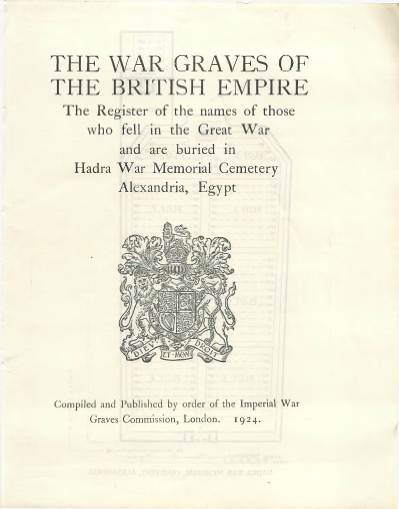 View individual pages of 'Memorial Register, Egypt I, The War Graves of the British Empire'