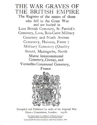 View individual pages of 'Memorial Register, France 550 - 556, The War Graves of The British Empire, Cemeteries in Loos, Haisnes, Mazingarbe, Grenay, Vermelles'