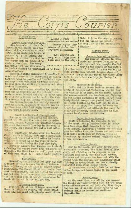 View individual pages of 'The Corps Courier Issues Oct 1944'