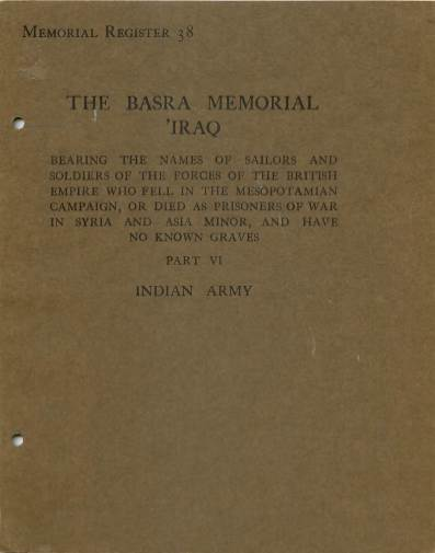 View individual pages of 'War Graves Memorial Register 38, The Basra Memorial 'Iraq, Part VI, Indian Army'
