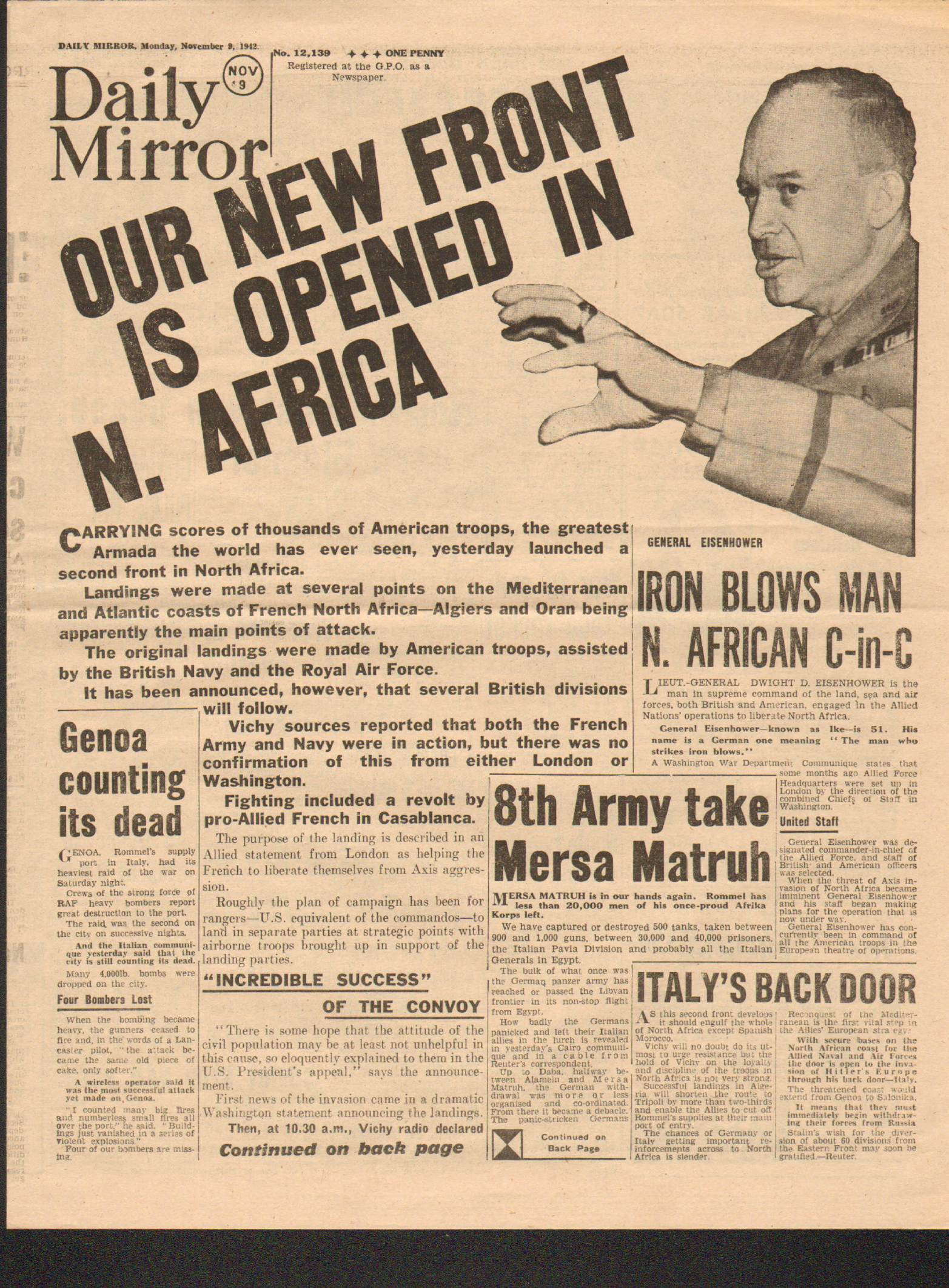 View individual pages of 'Daily Mirror November 9th 1942'