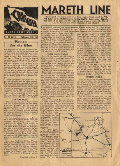 View individual pages of 'The Crusader, Eighth Army Weekly, No. 42, Vol 4, February 15th 1943'