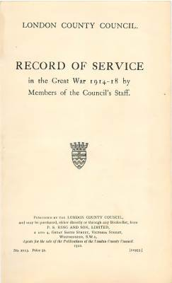 View individual pages of 'L.C.C. Record of War Service 1914-1918'
