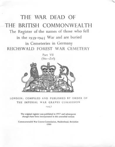 View individual pages of 'Memorial Register, Germany 1, The War Dead of The British Commonwealth, 1939-1945'