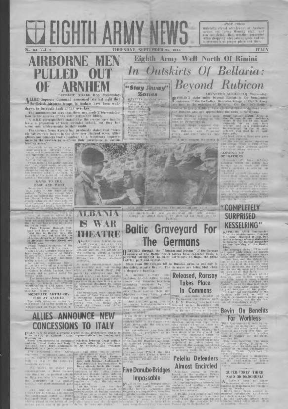 View individual pages of 'Eighth Army News  No 94 Vol 5 September 28th 1944'