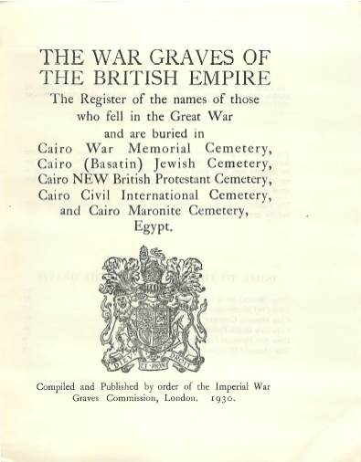 View individual pages of 'Memorial Register, Egypt 9-14, The War Graves of The British Empire, Cairo, Egypt'