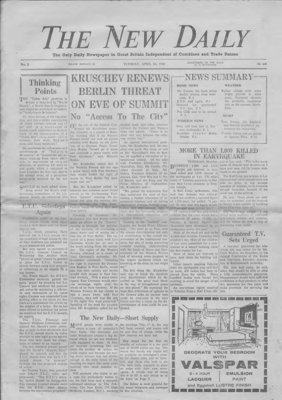 View individual pages of 'The New Daily April 26th 1960'