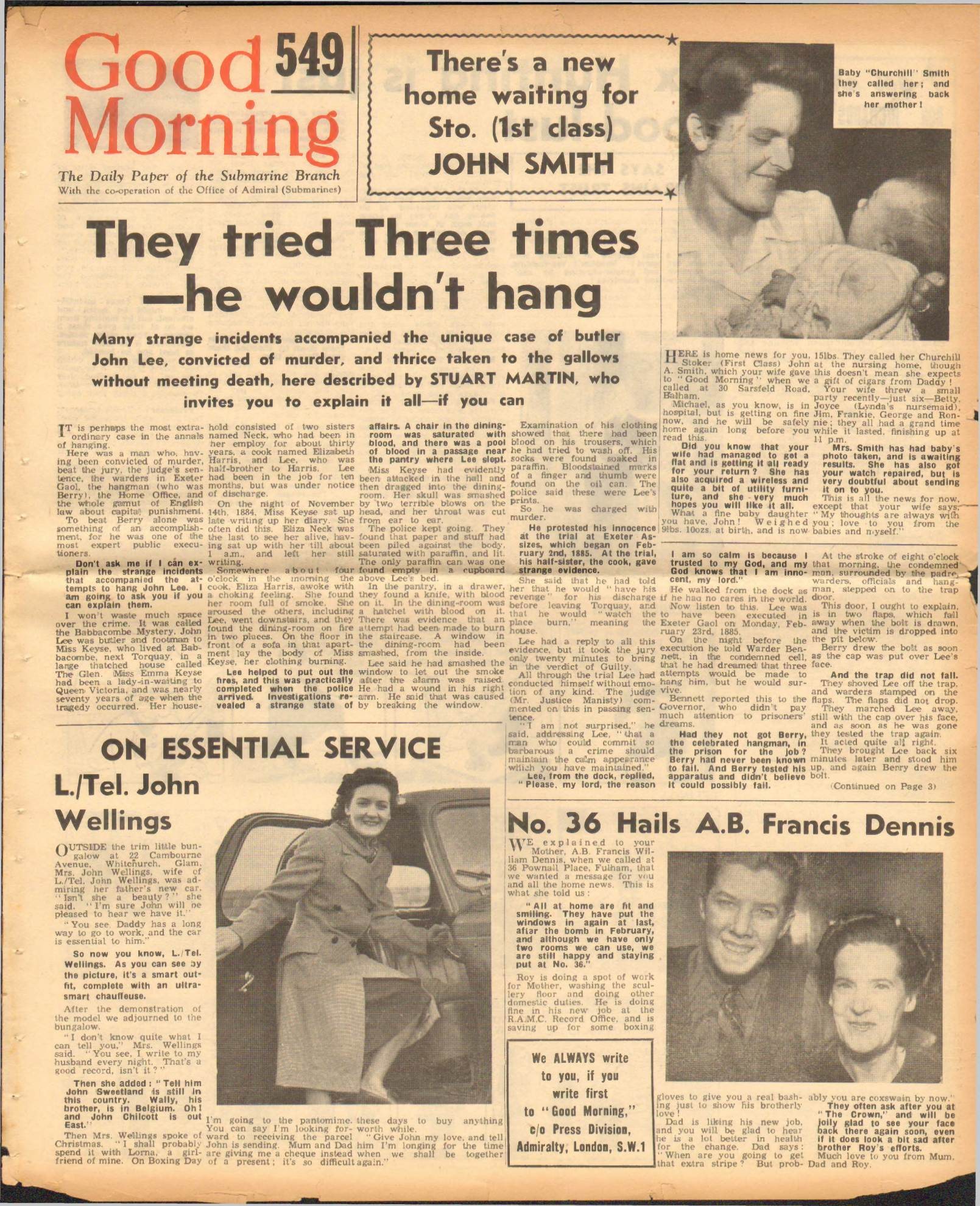 View individual pages of 'Good Morning, No 549, The Daily Paper of the Submarine Branch'