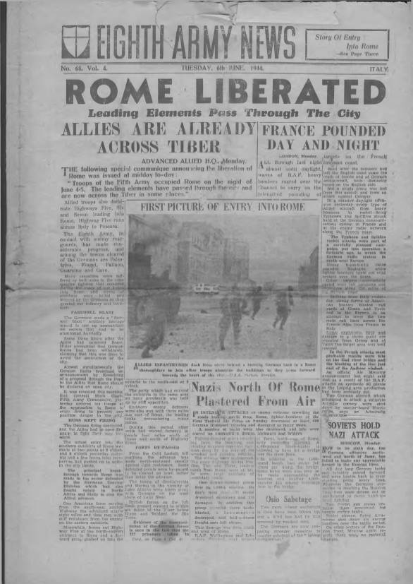 View individual pages of 'Eighth Army News  No 68 Vol 4 June 6th 1944'