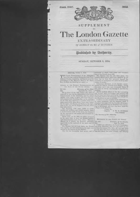View individual pages of 'Supplement to The London Gazette October 8th 1854'