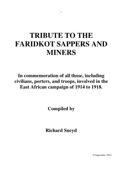 View individual pages of 'TRIBUTE TO THE FARIDKOT SAPPERS AND MINERS - In commemoration of all those, including civilians, porters, and troops, involved in the East African campaign of 1914 to 1918.'
