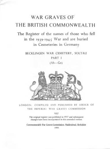View individual pages of 'Memorial Register, Germany 9, Part I, War Graves of The British Commonwealth 1939-1945'