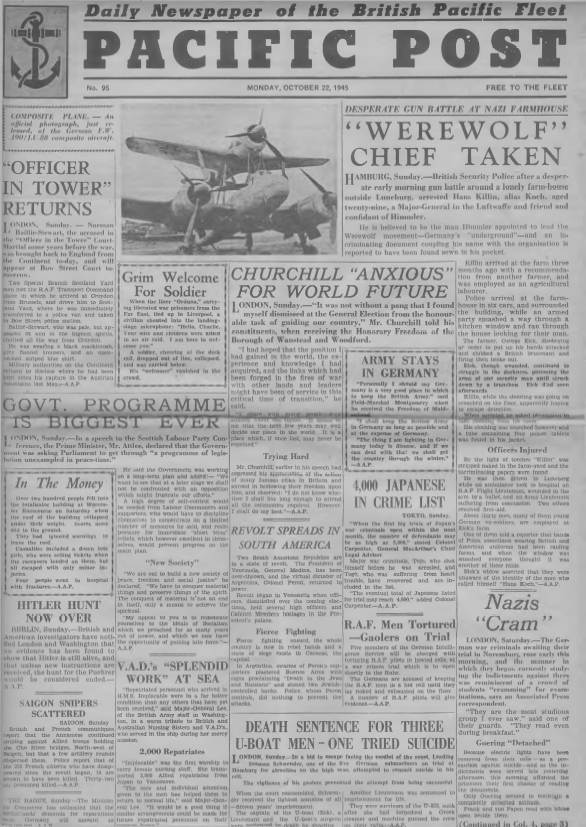 View individual pages of 'Pacific Post  No 95 October 22nd 1945'