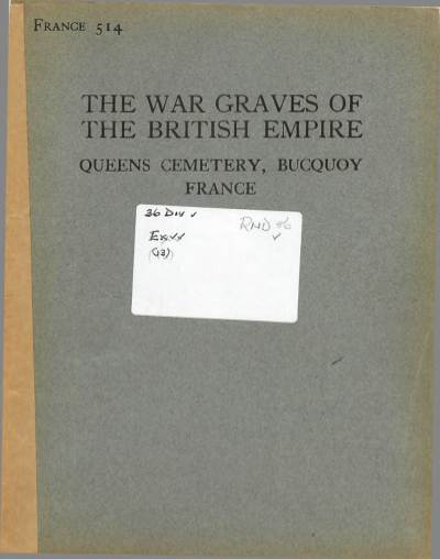View individual pages of 'Memorial Register, France 514, The War Graves of The British Empire, Bucquoy France'