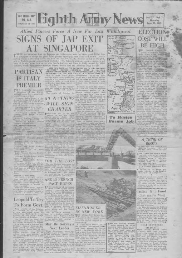 View individual pages of 'Eighth Army News  No 37 Vol 7 June 21st 1945'