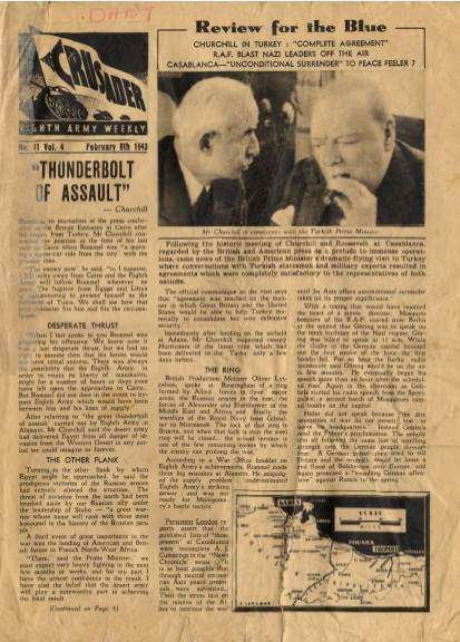 View individual pages of 'The Crusader, Eighth Army Weekly, No. 41, Vol 4, February 8th 1943'