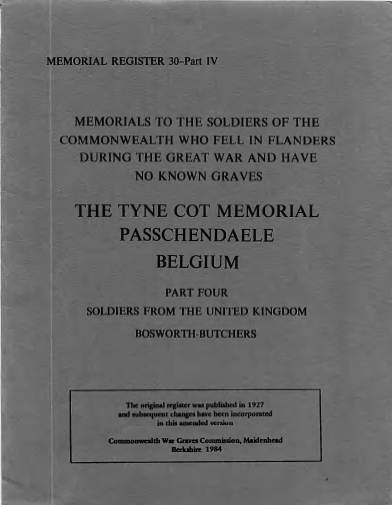 View individual pages of 'Memorial Register 30, WW1, The Tyne Cot Memorial, Passchendaele, Belgium, Soldiers from The United Kingdom Part IV'