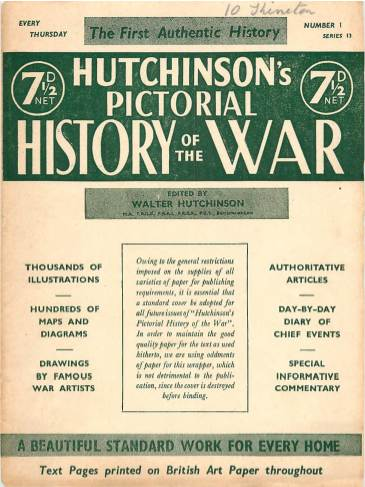 View individual pages of 'Hutchinson's Pictorial History of the War, Series 13 No 1'