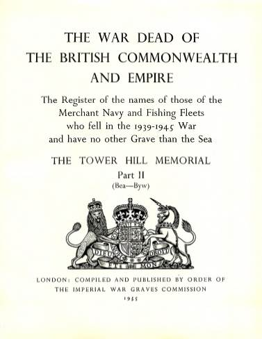 View individual pages of 'Memorial Register 22, The Tower Hill Memorial Part II, names of those of the Merchant Navy and Fishing Fleets who fell during WW2'