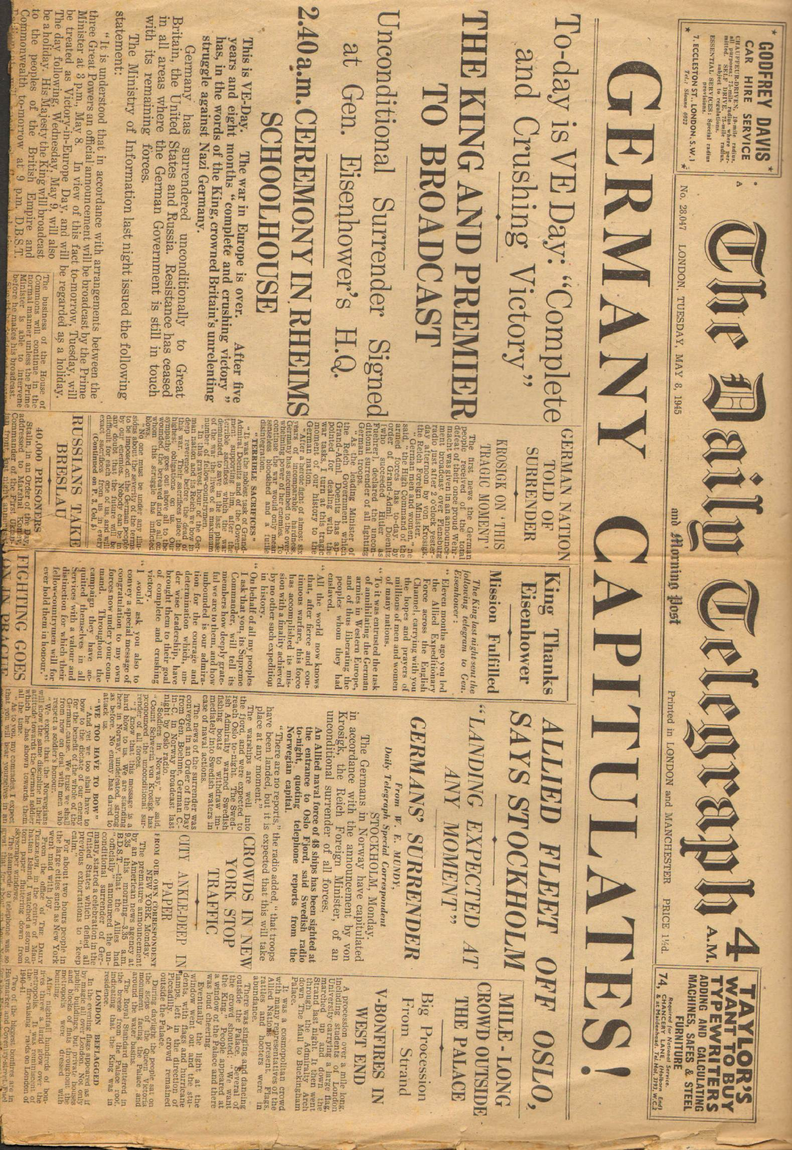 View individual pages of 'The Daily Telegraph  May 8th  1945'