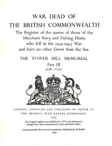 View individual pages of 'Memorial Register 22, The Tower Hill Memorial Part III, names of those of the Merchant Navy and Fishing Fleets who fell during WW2'