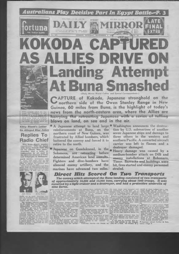 View individual pages of 'Daily Mirror, Sydney, November 3rd 1942'