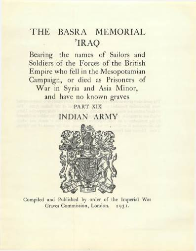 View individual pages of 'Memorial Register 38, The Basra Memorial 'Iraq, Part XIX, Indian Army'