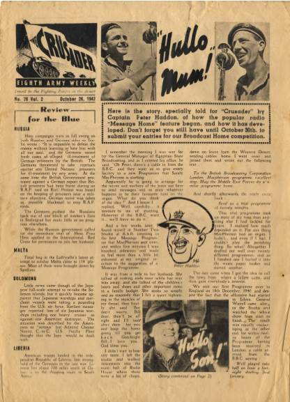 View individual pages of 'The Crusader, Eighth Army Weekly, No. 26, Vol. 2, October 26th 1942'