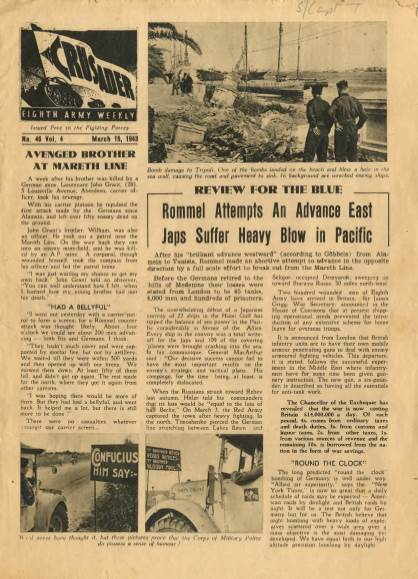 View individual pages of 'The Crusader, Eighth Army Weekly, No. 46, Vol 4, March 15th 1943'