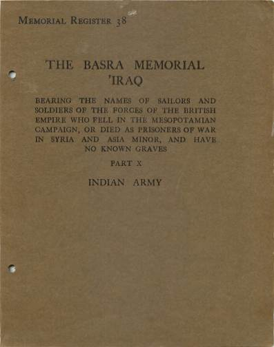 View individual pages of 'Memorial Register 38, The Basra Memorial 'Iraq, Part X, Indian Army'