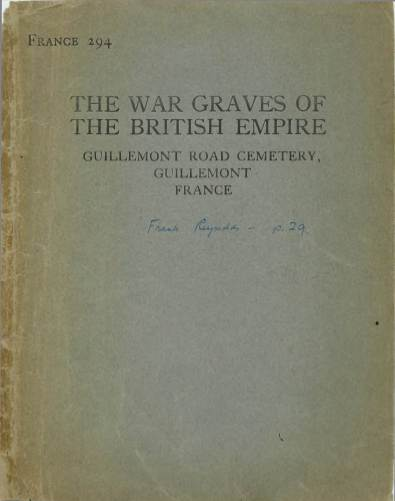 View individual pages of 'Memorial Register, France 294, The War Graves of The British Empire, Guillemont, France'