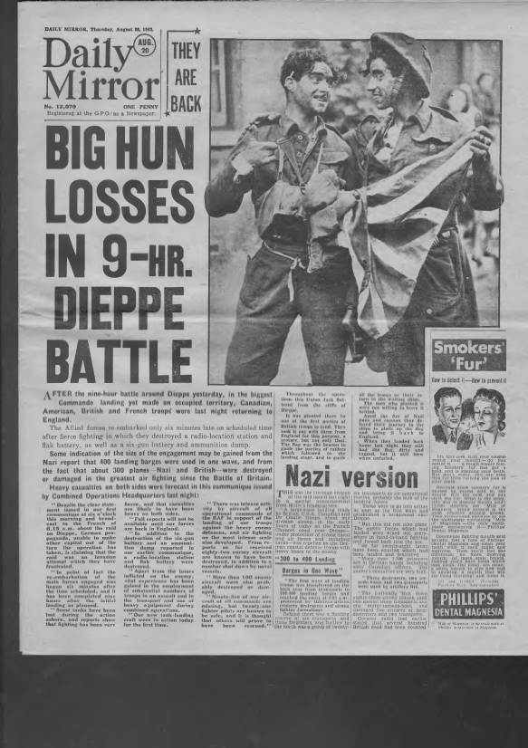 View individual pages of 'Daily Mirror August 20th 1942'