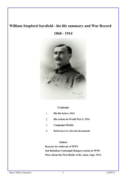 View individual pages of 'William Stopford Sarsfield - his life summary and War Record'