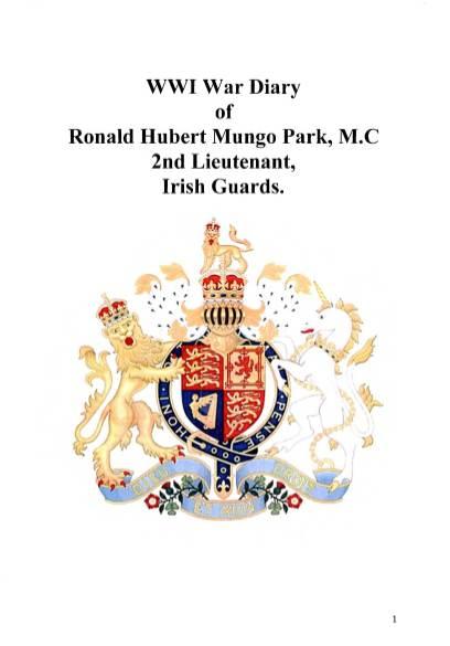 View individual pages of 'WWI War Diary of Ronald Hurbert Mungo Park, M.C. 2nd Lieutenant, Irish Guards'