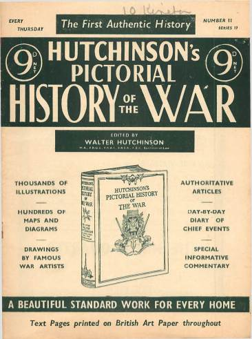 View individual pages of 'Hutchinson's Pictorial History of the War, Series 17 No 11'