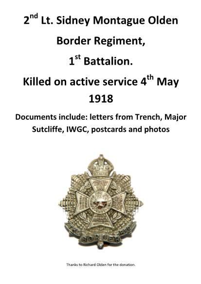 View individual pages of '2nd Lt. Sidney Montague Olden Border Regiment,  1st Battalion.'