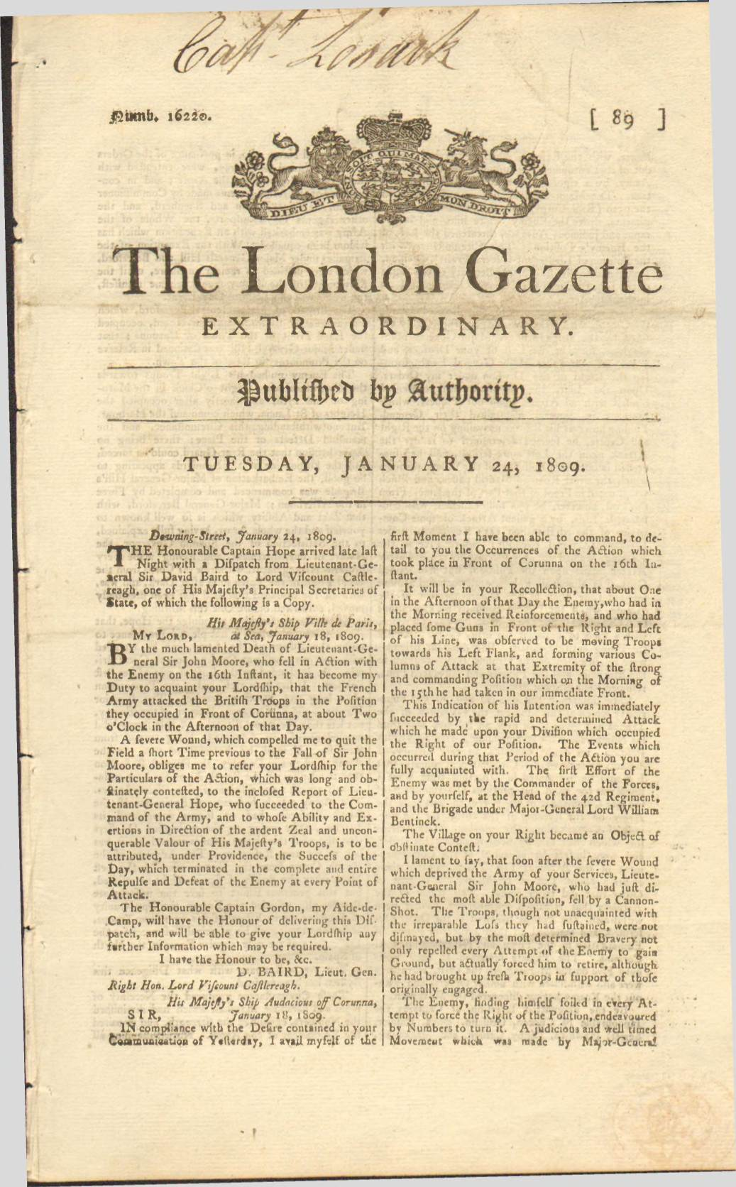 View individual pages of 'The London Gazette, Jan 24 1809'