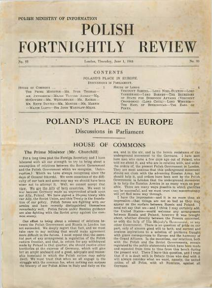 View individual pages of 'Polish Fortnightly Review  No 93 June 1st 1944'